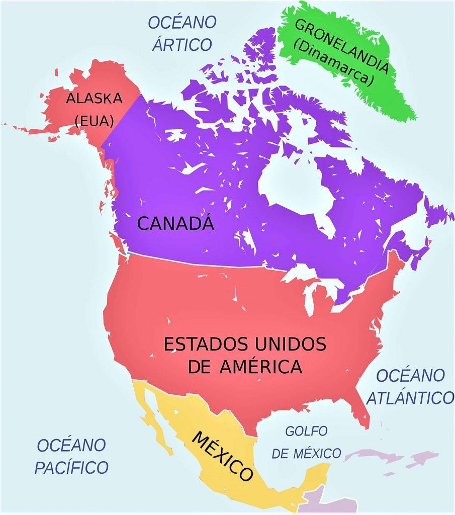 mapa america del norte politico con nombres en español