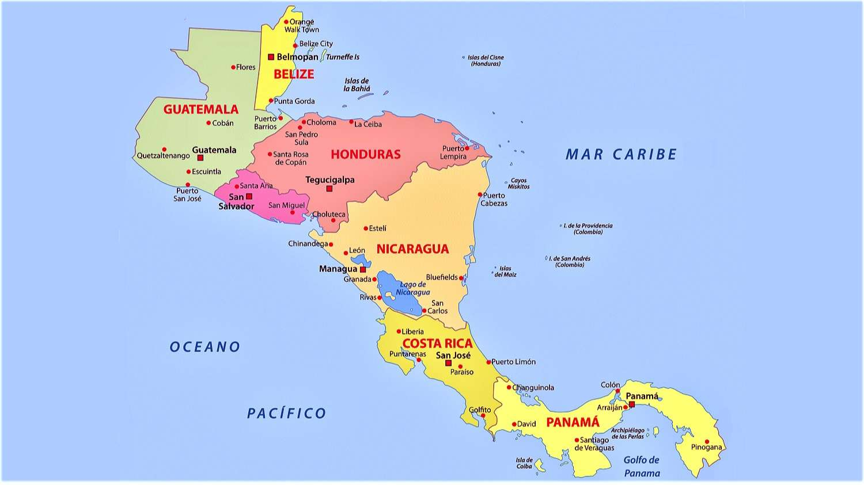 Mapa De Centroamerica America Central Politico Fisico Para