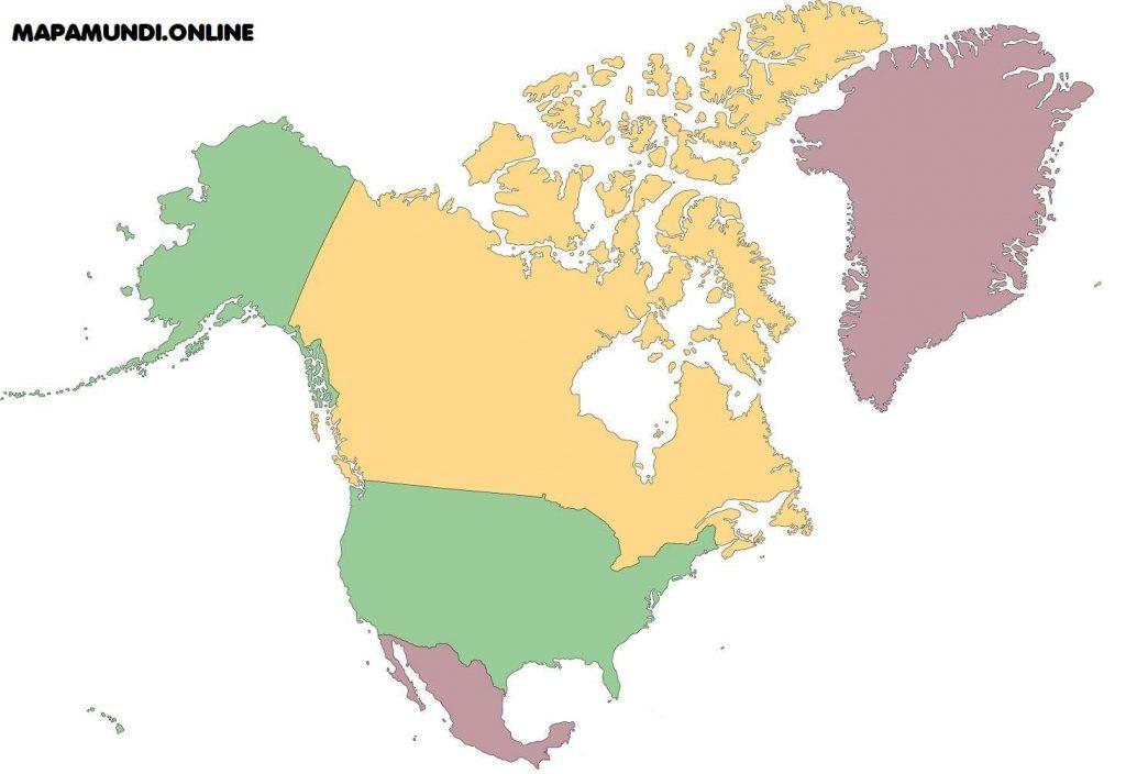 mapa america norte mudo sin nombres