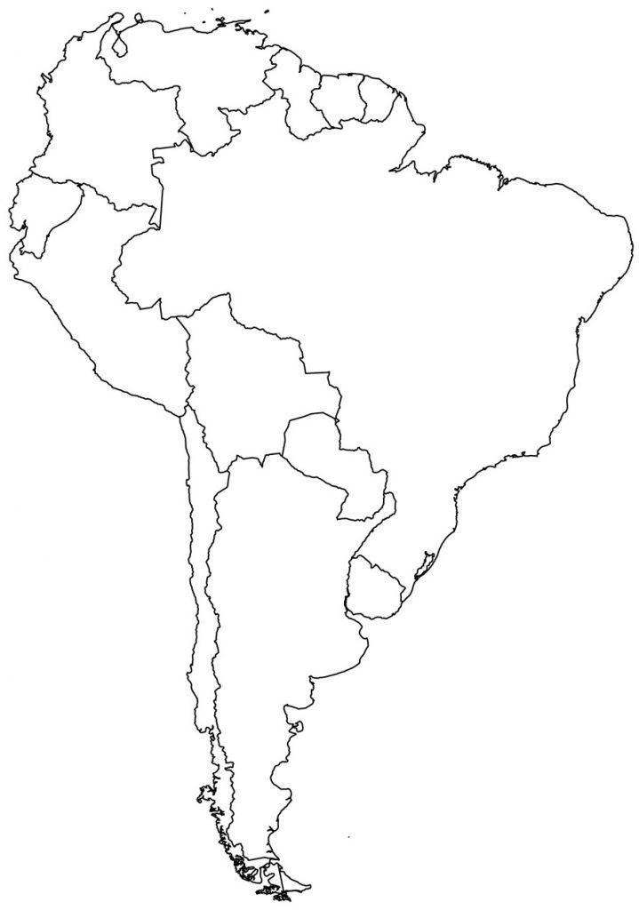 mapa america del sur mudo en blanco para imprimir y colorear