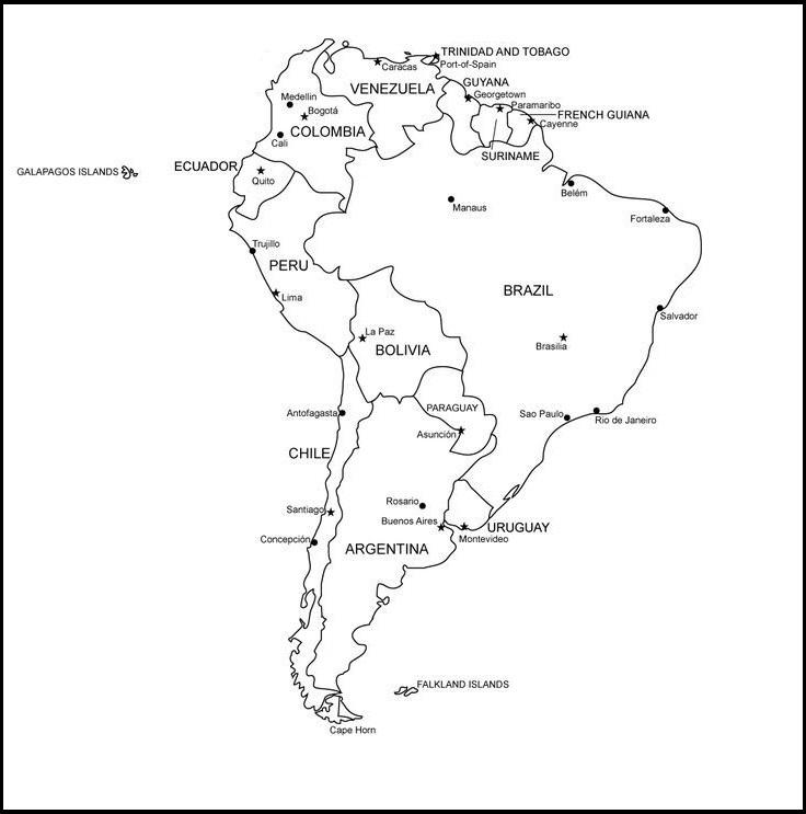 mapa america del sur en blanco con nombres y fronteras