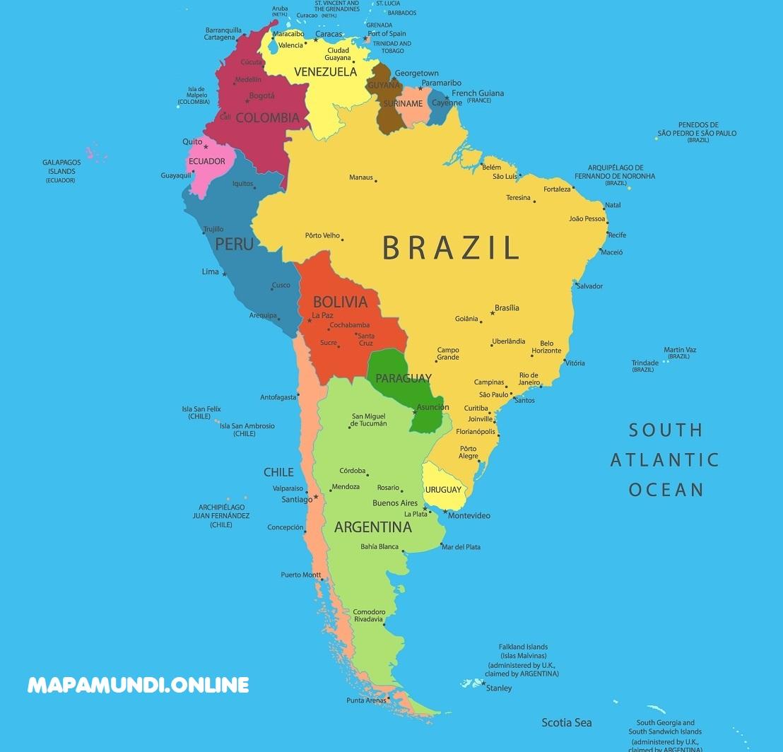 Mapa Geografico De Sudamerica.Mapa De America Del Sur Sudamerica Politico Fisico Para Imprimir