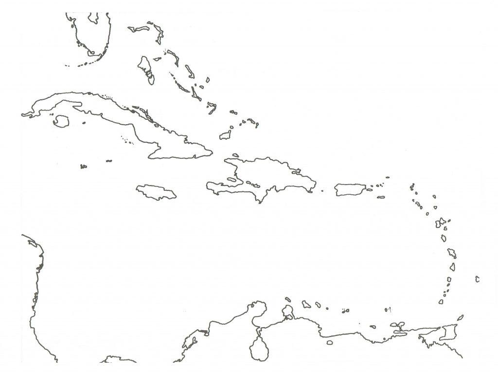 mapa caribe para colorear