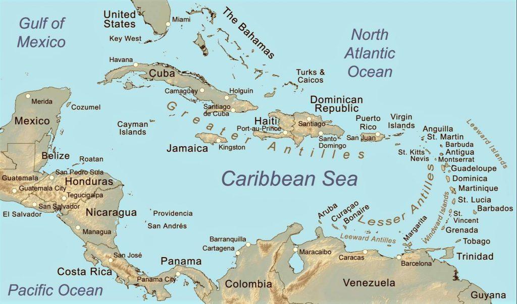 mapa caribe antillas politico