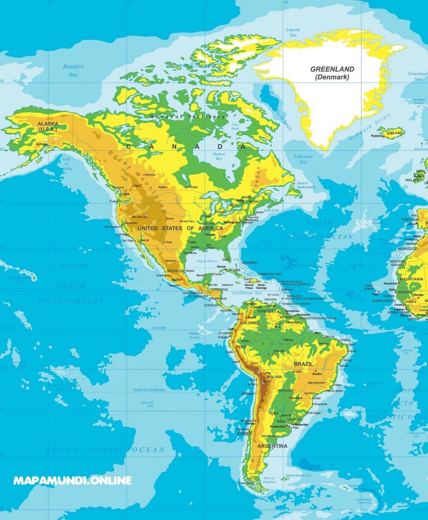 mapa fisico america