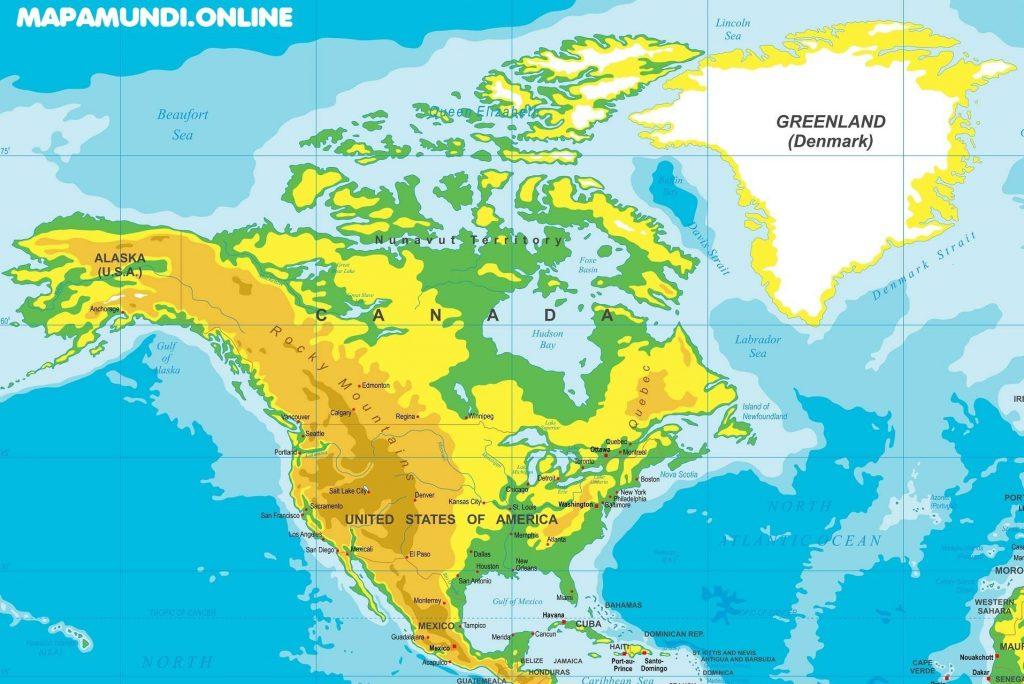 mapa america norte fisico