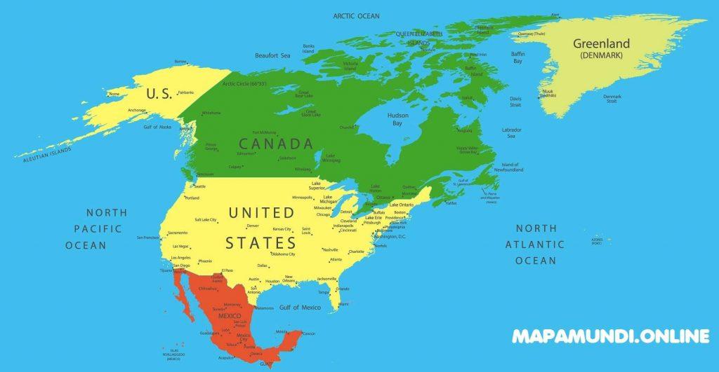 mapa america norte politico con nombres