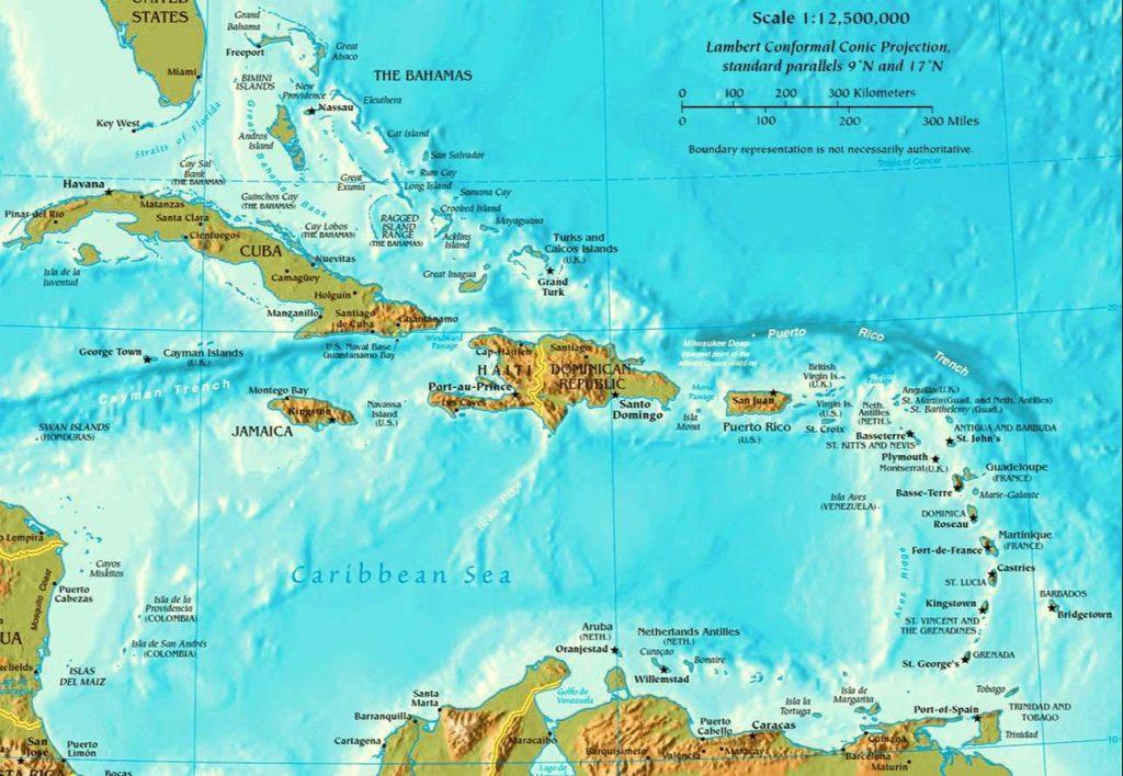 mapa fisico politico caribe antillas